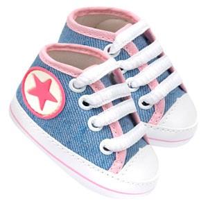 Tênis Bebê Feminino Star Cano Alto Azul Jeans e Rosa (P/M/G/GG) - Baby Soffete - Tamanho GG - Jeans,Rosa,Azul