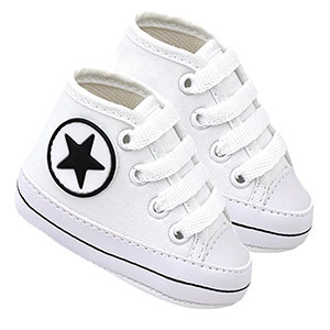 Tênis Bebê Cano Alto Star Branco (P/M/G/GG) - Baby Soffete - Tamanho GG - Branco