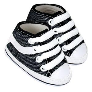 Tênis Bebê Cano Alto Skate Preto Jeans (P/M/G/GG) - Baby Soffete - Tamanho GG - Jeans,Preto