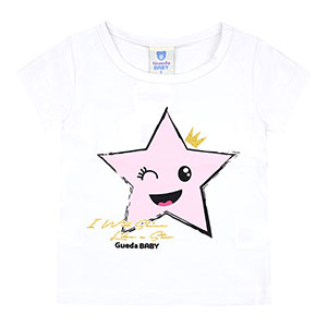 Camiseta Bebê Feminina Manga Curta Cotton Branca Star (P/M/G/GG) - Gueda Kids - Tamanho GG - Branco