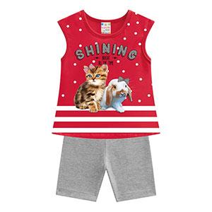 Conjunto Bebê Feminino Camiseta Mini Vermelha Pet e Shorts Ciclista Mescla (P/M/G) - Brandili - Tamanho G - Mescla,Vermelho
