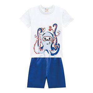 Conjunto Bebê Masculino Camiseta Manga Curta Branca Polvo e Bermuda Azul Royal (P/M/G) - Brandili - Tamanho G - Azul Royal,Branco
