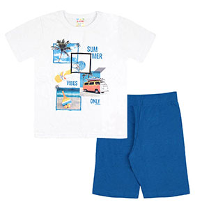 Conjunto Infantil Masculino Camiseta Manga Curta Branca Summer e Bermuda (4/6/8) - Brandili - Tamanho 4 - Azul,Branco
