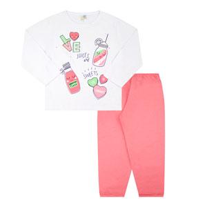 Pijama Infantil Feminino Camiseta Branca Love e Calça Rosa (4/6/8) - Jidi Kids - Tamanho 8 - Branco,Rosa