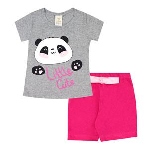 Pijama Bebê Feminino Meia Malha Camiseta Manga Curta Pandinha e Shorts Pink (1/2/3) - Gueda Kids - Tamanho 3 - Mescla,Pink