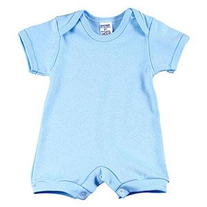 Macacão Bebê Suedine Liso Manga Curta (P/M/G) - MMD Baby - Tamanho G - Azul