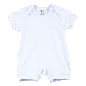 Macacão Bebê Suedine Liso Manga Curta (P/M/G) - MMD Baby - Tamanho G - Branco