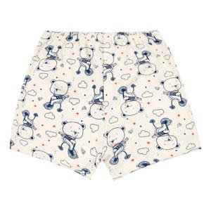 Shorts Bebê Canelado sem Punho Creme Urso na Bike (1/2/3) - Top Chot - Tamanho 2 - Azul,Creme