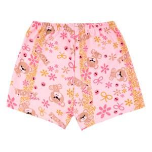 Shorts Bebê Feminino Canelado sem Punho Rosa Urso Laço (3) - Top Chot - Tamanho 2 - Rosa