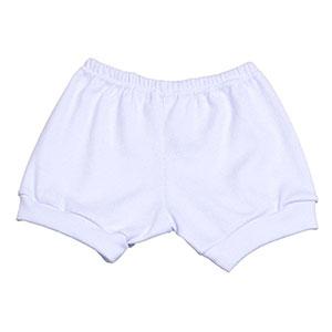 Tapa Fralda (Shorts) Bebê Canelado Liso (P/M/G) - Top Chot - Tamanho G - Branco