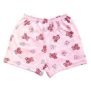 Shorts Bebê Feminino Canelado sem Punho Rosa Ursinhos (P/M) - Top Chot - Tamanho M - Rosa