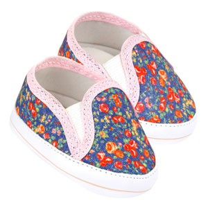 Tênis Bebê Slip-On Floral Jeans Rosa (P/M/G/GG) - Baby Soffete - Tamanho G - Jeans,Rosa