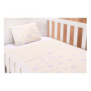 Jogo de Lençol Bebê com Elástico Americano Algodão Amarelo Nuvens e Listras (3 unidades) - Baby Joy - Tamanho único - Branco,Amarelo