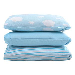 Kit Bebê Fronha Mascullino Azul Nuvem, Listrado e Lisa (3 unidades) - Baby Joy - Tamanho único - Azul