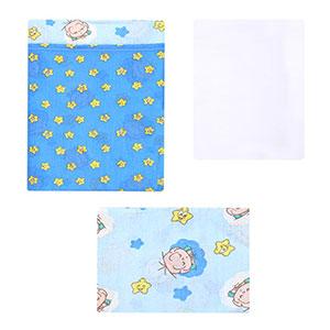 Jogo de Lençol Bebê Masculino Americano Azul Cebolinha Estrela (3 Peças) - Turma da Mônica - Tamanho único - Azul,Branco