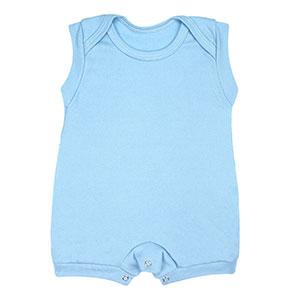 Macaquinho Bebê Regata Curta Canelado Liso (P/M/G) - Top Chot - Tamanho G - Azul
