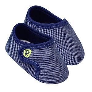 Tênis Bebê Masculino Jeans com Velcro (14 e 15) - Pimpolho - Tamanho 15 - Azul Marinho